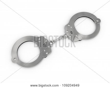 Handcuffs Disposed By Diagonal On White