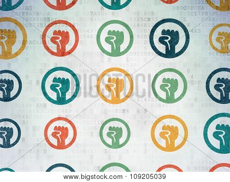 Politics concept: Uprising icons on Digital Paper background