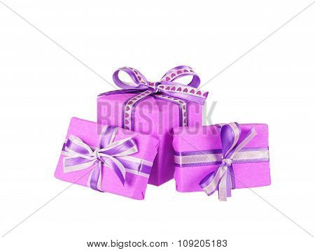 violet gift boxes with ribbon bows