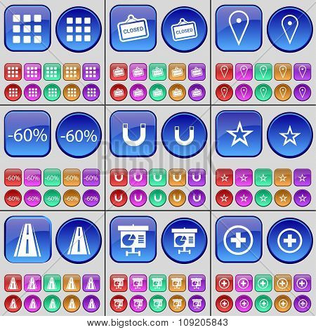 Apps, Closed, Checkpoint, Discount, Magnet, Star, Road, Diagram, Plus. A Large Set Of Multi-