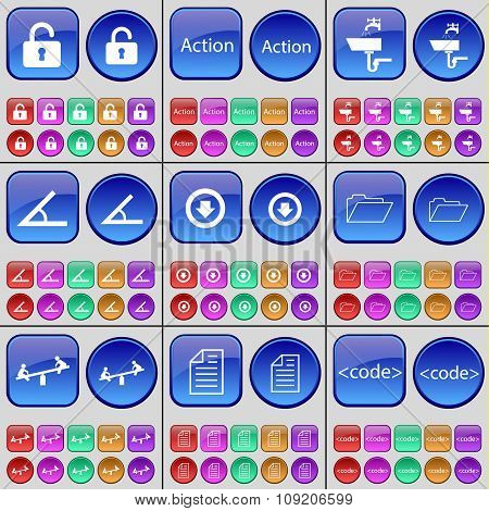 Lock, Action, Tap, Angle, Arrow Down, Folder, Swing, Text File, Code. A Large Set Of Multi-colored
