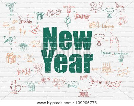 Entertainment, concept: New Year on wall background