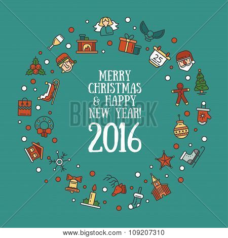 Illustration of Christmas and Happy New Year flat design postcard with icons