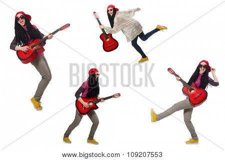 Hipste guitar player isolated on white