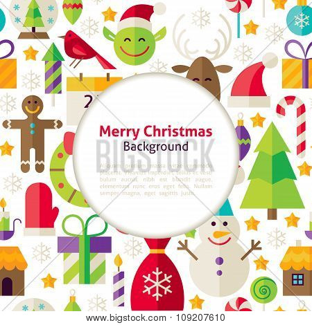 Flat Merry Christmas Vector Background