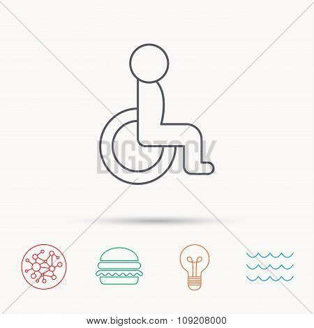 Disabled person icon. Human on wheelchair sign.