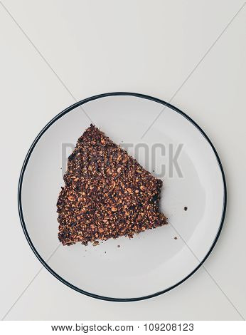 Chocolate Cake On White Plate Top View
