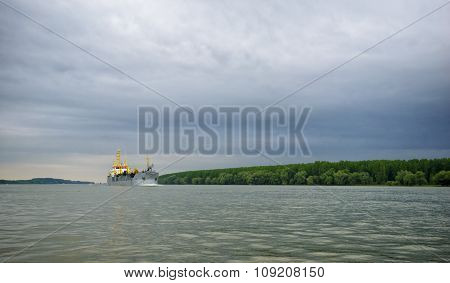 Big Boat On Danube River Near Galati