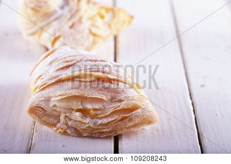 Sfogliatella Over White Wood