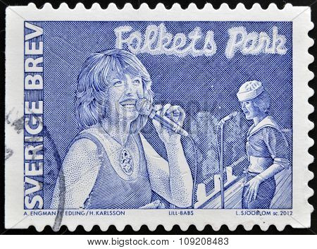 SWEDEN - CIRCA 2012: stamp printed in Sweden shows Lill Babs circa 2012