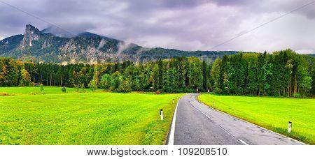 Mountain Road In Austrian Alps. Salzburg