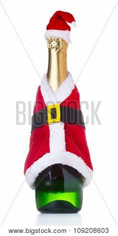 Champagne Bottle In A Christmas Decoration Santa Clothes