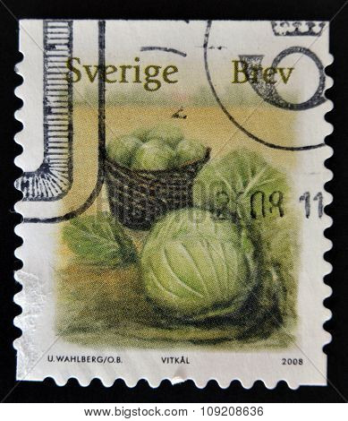 SWEDEN - CIRCA 2008: stamp printed in Sweden shows Cabbage circa 2008