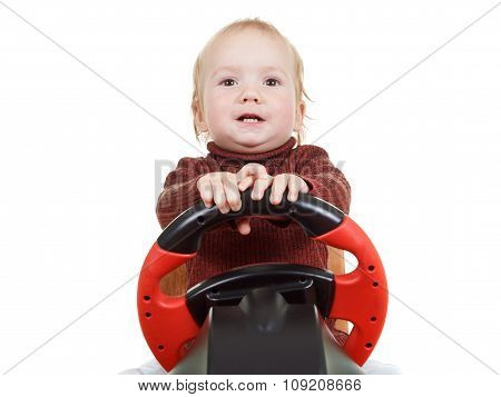 Kid Plays A Driving Game Console, Isolated On White