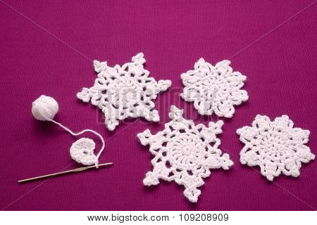Christmas Decoration Knitted Snowflakes