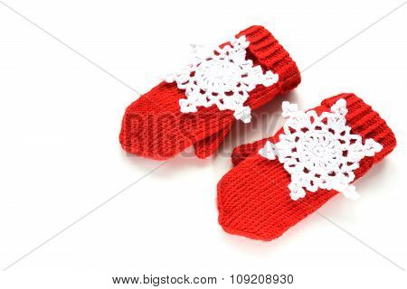 Red Knitted Mittens With Decoration