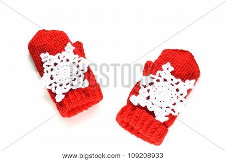Knitted Mittens With Decoration - Snowflakes