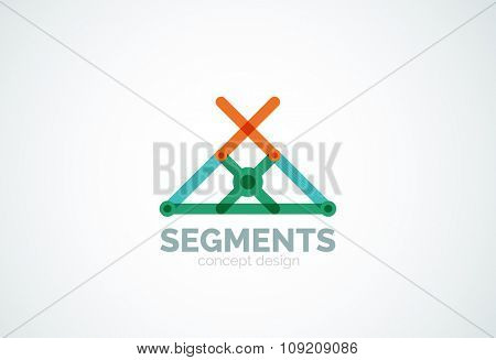 Outline minimal abstract geometric logo, linear business icon made of line segments, elements. Vector illustration