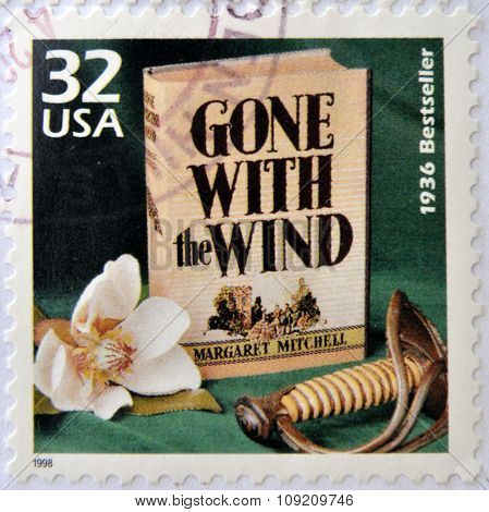 UNITED STATES OF AMERICA - CIRCA 1998: a stamp printed in USA showing an image of Gone with the Wind
