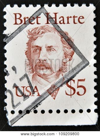 UNITED STATES OF AMERICA - CIRCA 1987: A stamp printed in USA shows Bret Harte circa 1987
