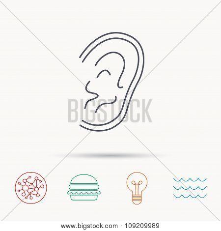 Ear icon. Hear or listen sign.