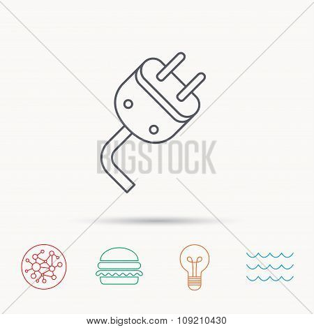 Electric plug icon. Electricity power sign.