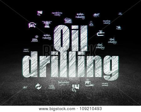 Industry concept: Oil Drilling in grunge dark room