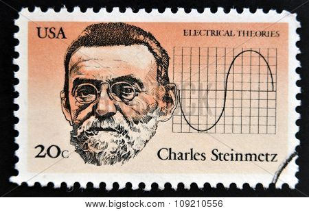 A stamp printed in USA shows Charles Steinmetz for his electrical theories