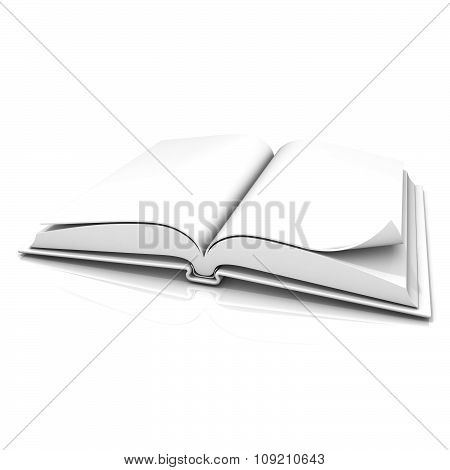 Blank open white book