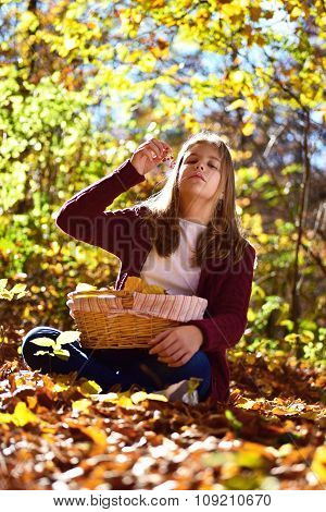 Girl Eat Fruit In The Nature