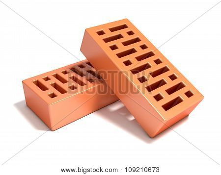 Two red bricks with rectangular holes. 3D render