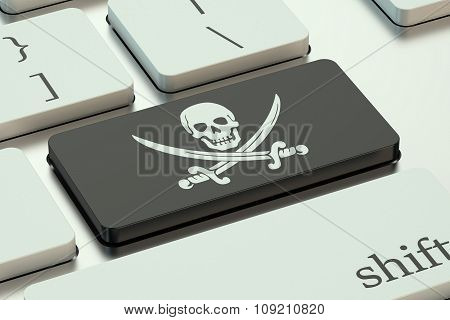 Software Piracy Concept, On The Computer Keyboard