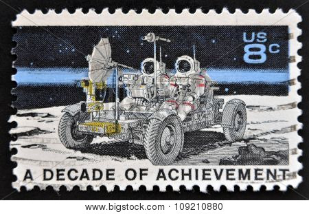 stamp printed in United States of America shows Lunar Rover Apollo 15 moon exploration mission