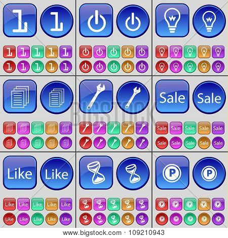 One, Power, Light Bulb, Text, Wrench, Sale, Like, Hourglass, Parking. A Large Set Of Multi-colored