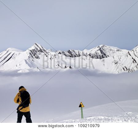 Freerider On Off-piste Slope In Mist