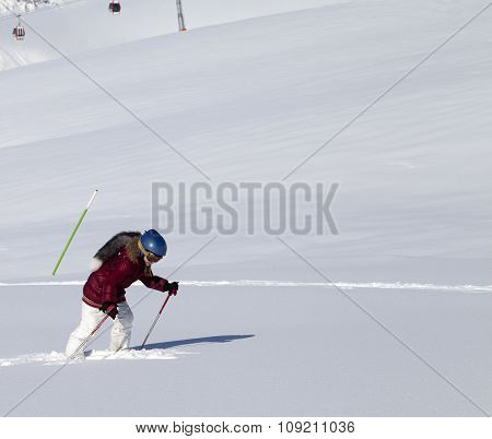 Little Skier On Off-piste Slope With New Fallen Snow At Nice Sun Day