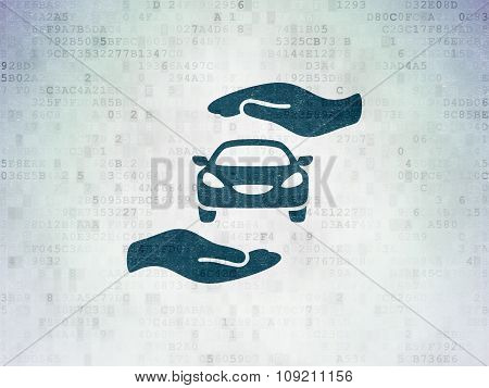 Insurance concept: Car And Palm on Digital Paper background