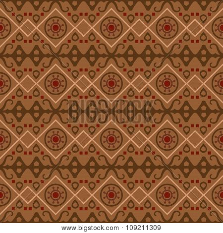 Seamless background image of vintage brown tone geometry shape pattern.