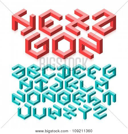 Hexagon typeface made of impossible shapes. Vector.