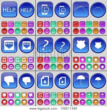 Help, Sms, Stars, Lan Socket, Question Mark, Police Badge, Dislike, File, Umbrella. A Large Set Of