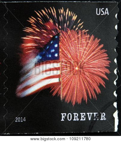A stamp printed in USA shows Star Spangled Banner (Forever)