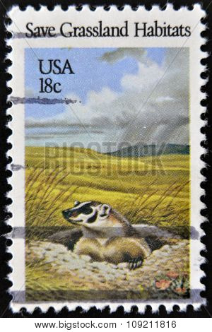 USA - CIRCA 1981: A stamp printed in United States of America shows Save Grassland habitats