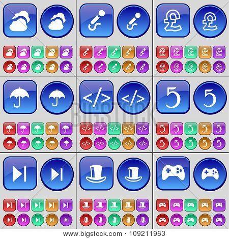 Cloud, Microphone, Yen, Umbrella, Brackets, Five, Media Skip, Silk Hat, Gamepad. A Large Set Of