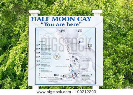 Map Of Half Moon Cay, Bahamas On February 09,2015