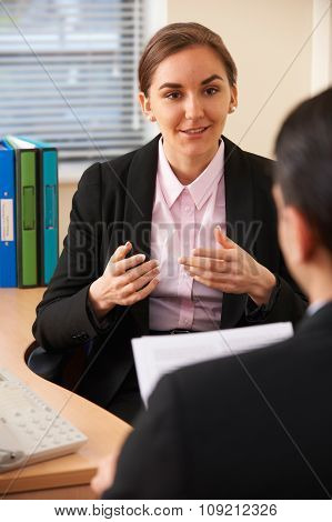 Female Job Applicant Being Interviewed