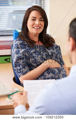 Pregnant Woman Having Appointment With Doctor In Surgery