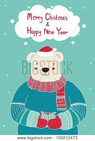 Hand drawn cute bear holding gift box for Christmas card templates. Christmas Poster,Vector illustra