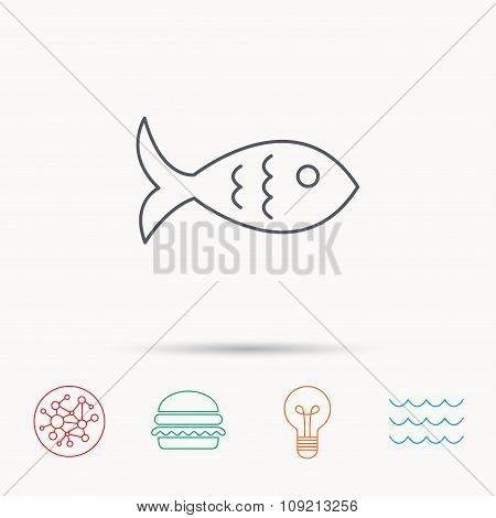 Fish icon. Seafood sign. Vegetarian food symbol.