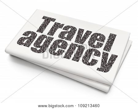 Vacation concept: Travel Agency on Blank Newspaper background
