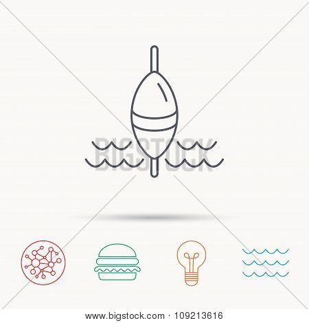 Fishing float icon. Fisherman bobber sign.